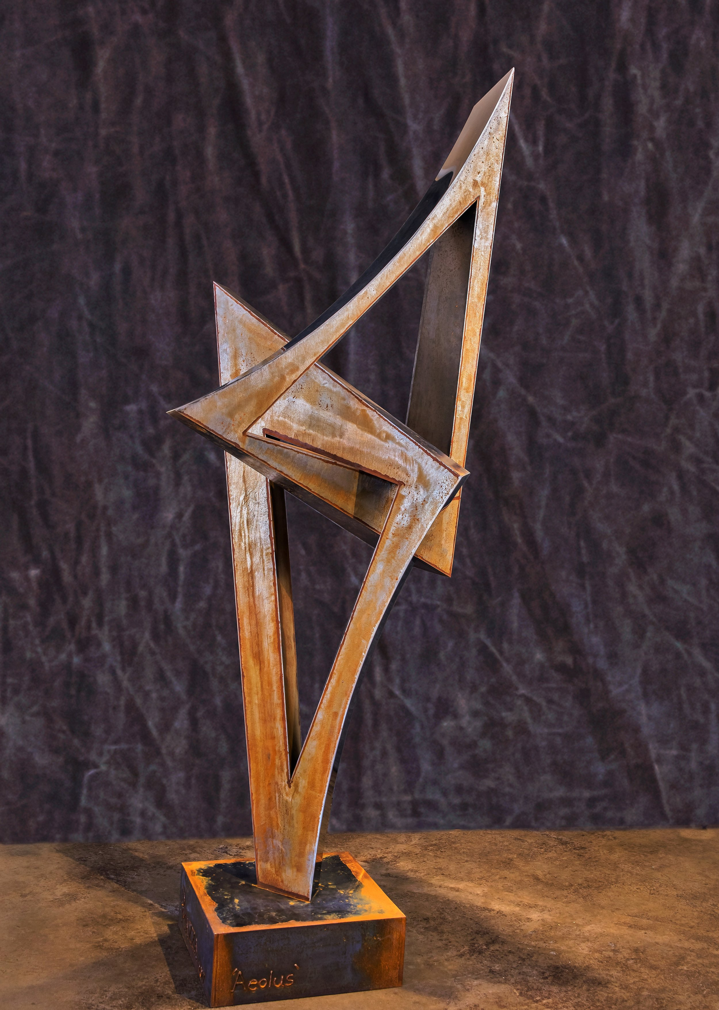 """Aeolus  mild steel and polished stainless steel  80"""" x 35"""" x 36"""""""