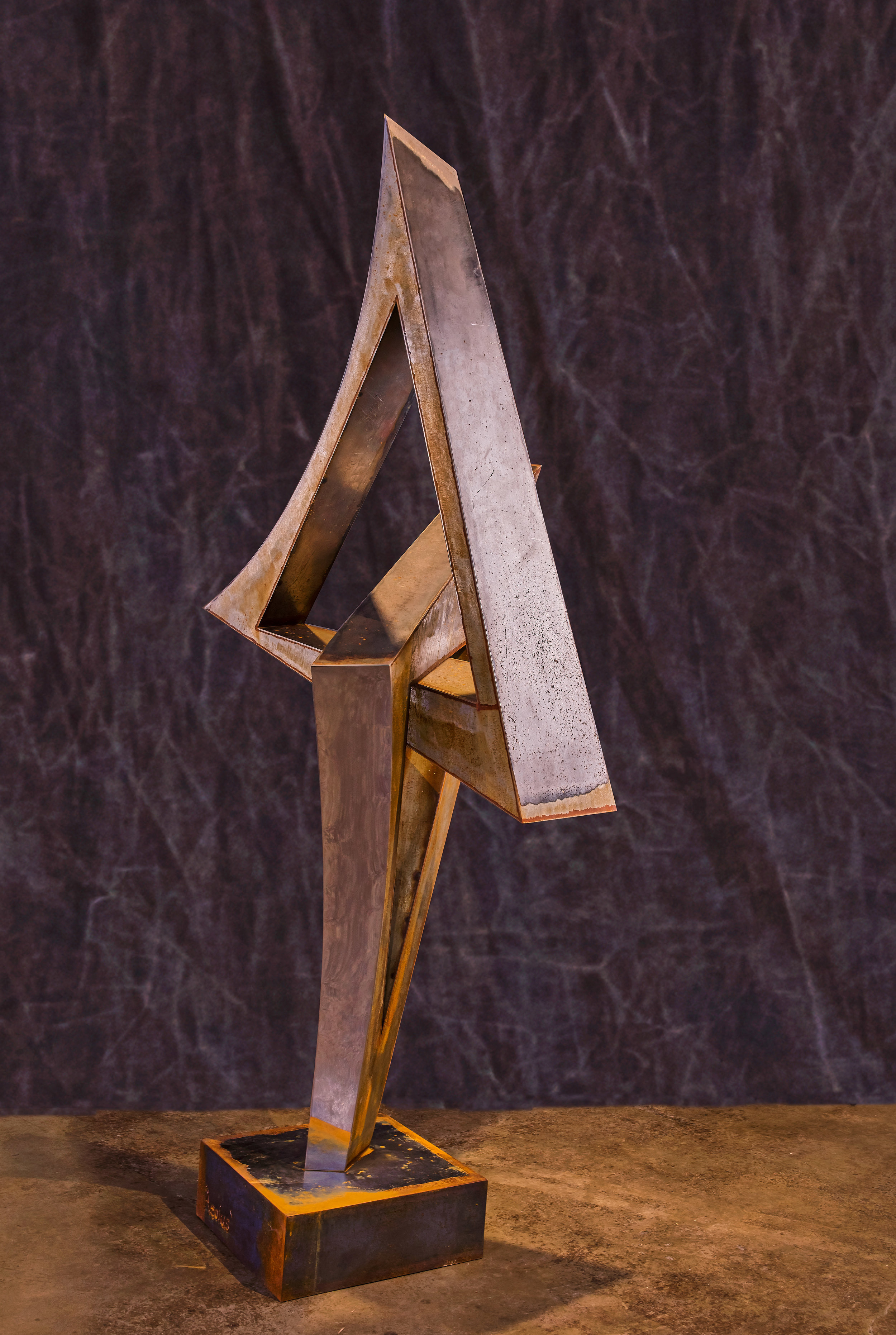 """Aeolus (different view)  mild steel and polished stainless steel  80"""" x 35"""" x 36"""""""