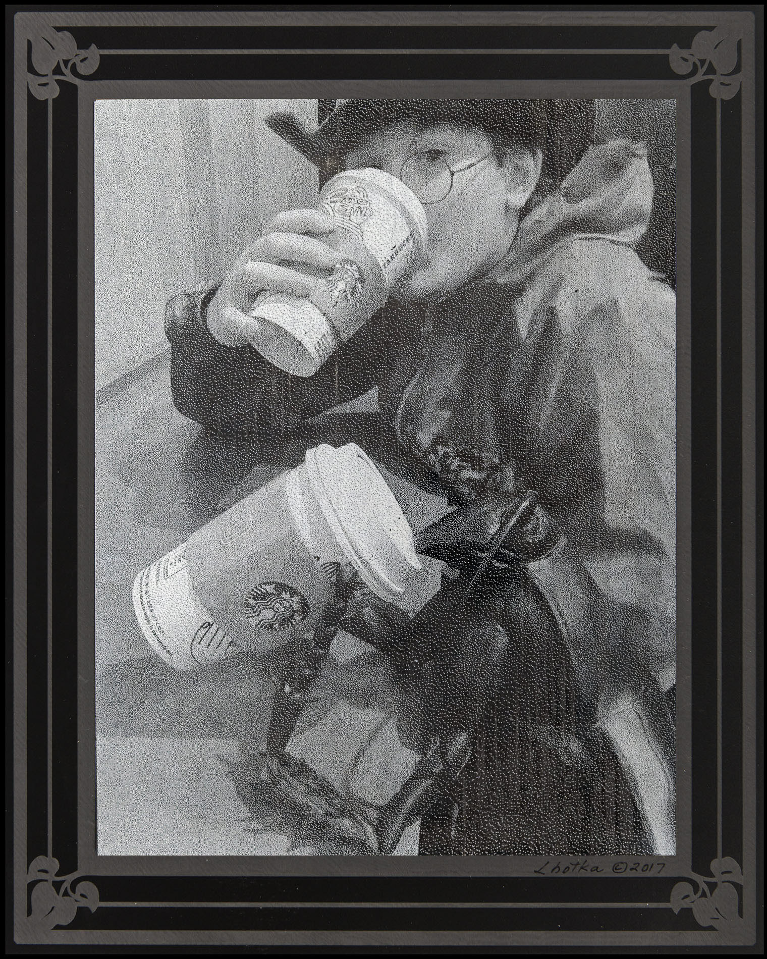 Coffee Break  8 x 10  caustigram mounted on laser engraved acrylic