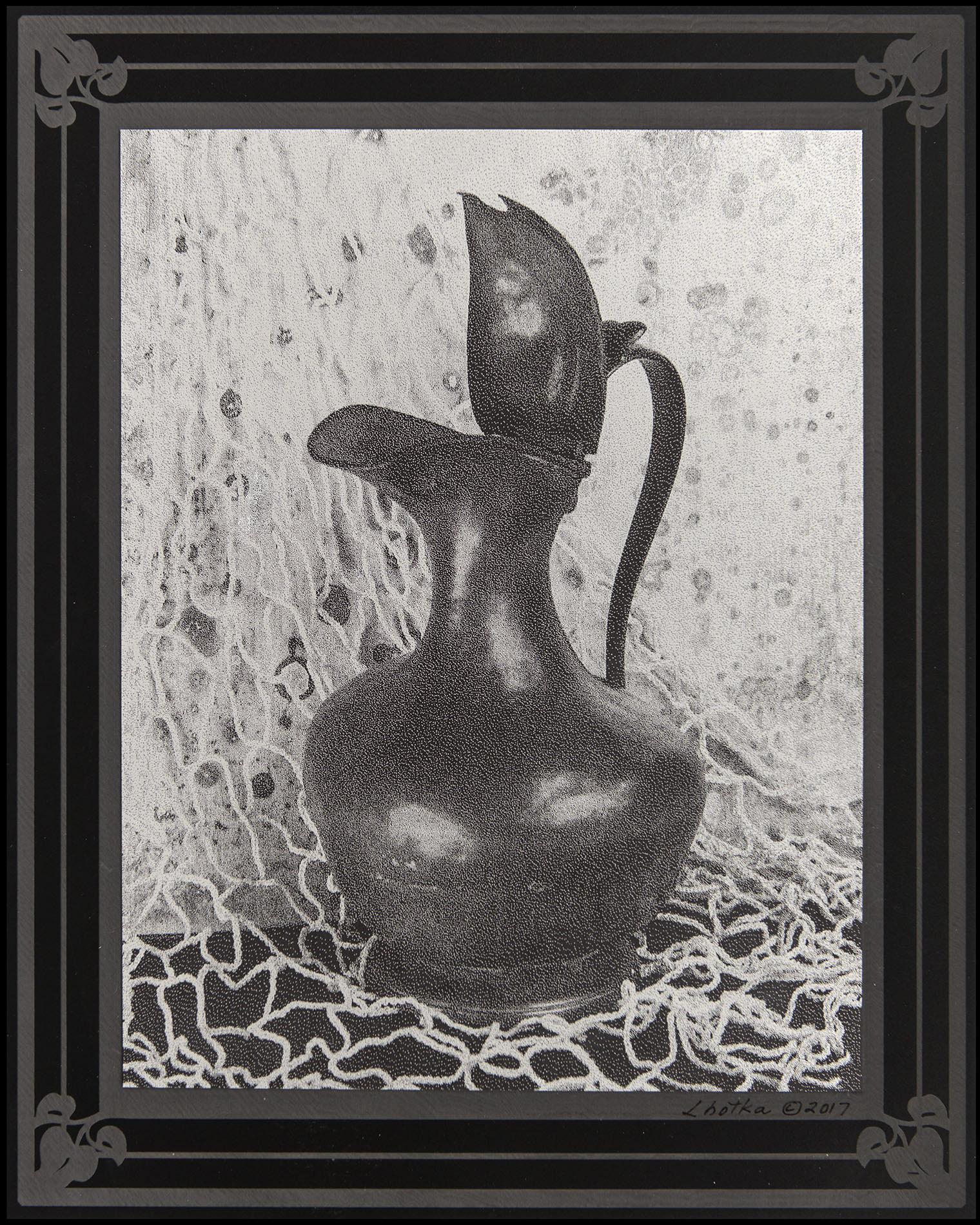 Pewter Pot  8 x 10  caustigram mounted on laser engraved acrylic