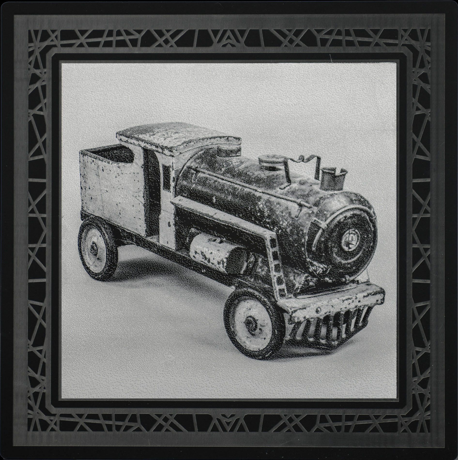 Red Train  8 x 8  caustigram mounted on laser engraved acrylic