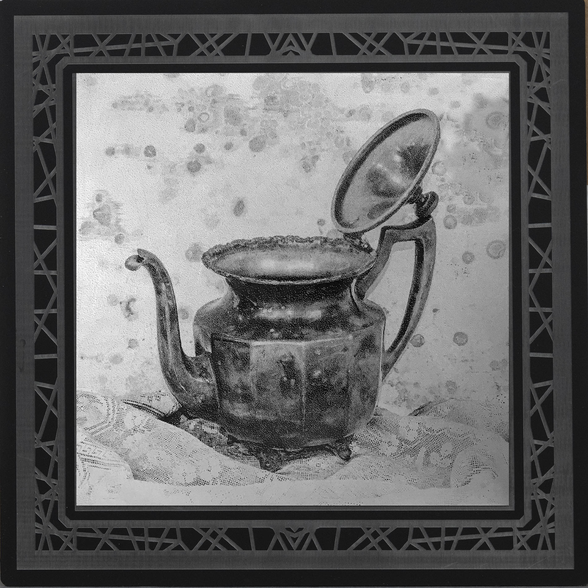 Silver Tea  8 x 8  caustigram mounted on laser engraved acrylic