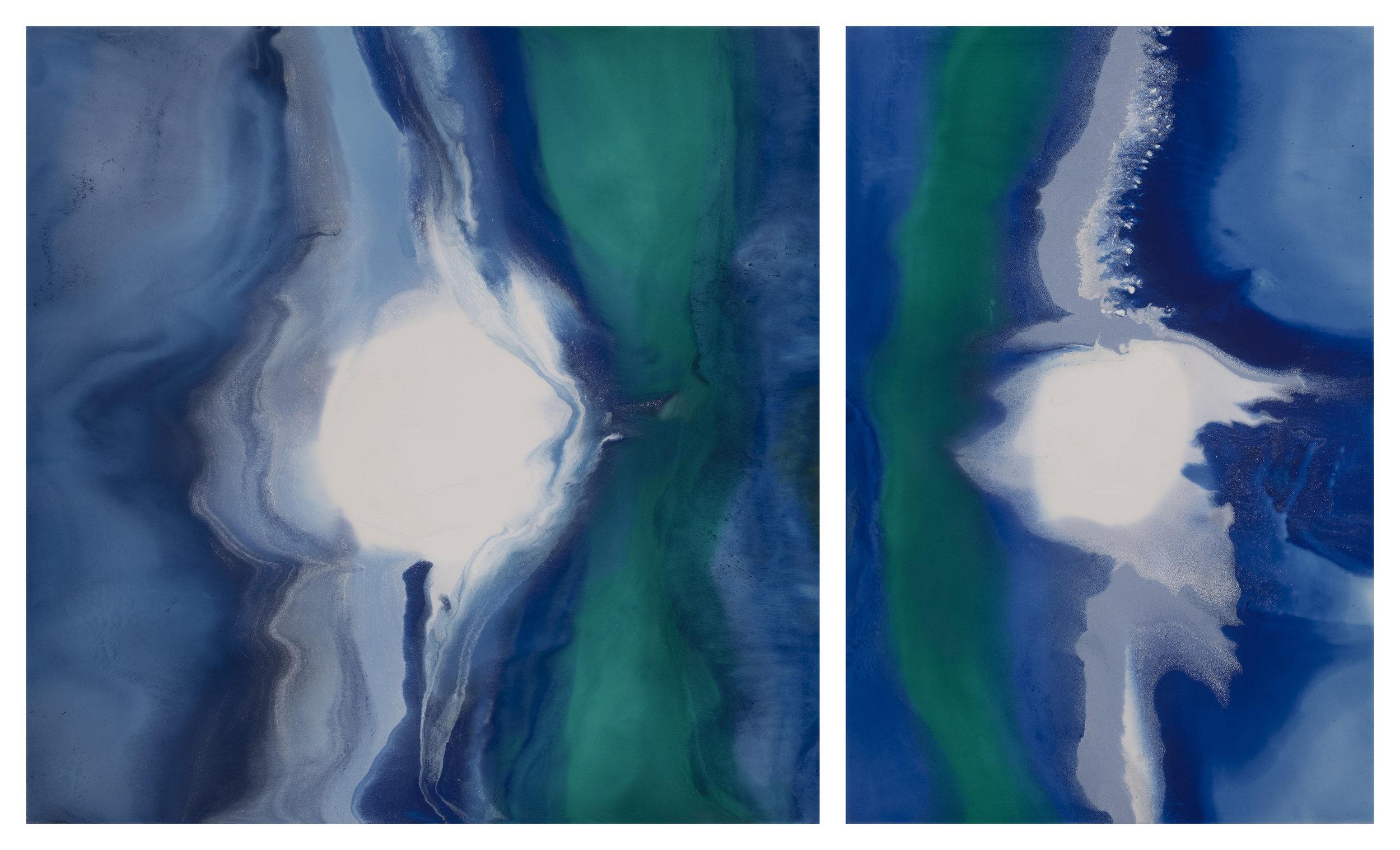 Portal I and II  mixed media on panel  36 x 60 x 2