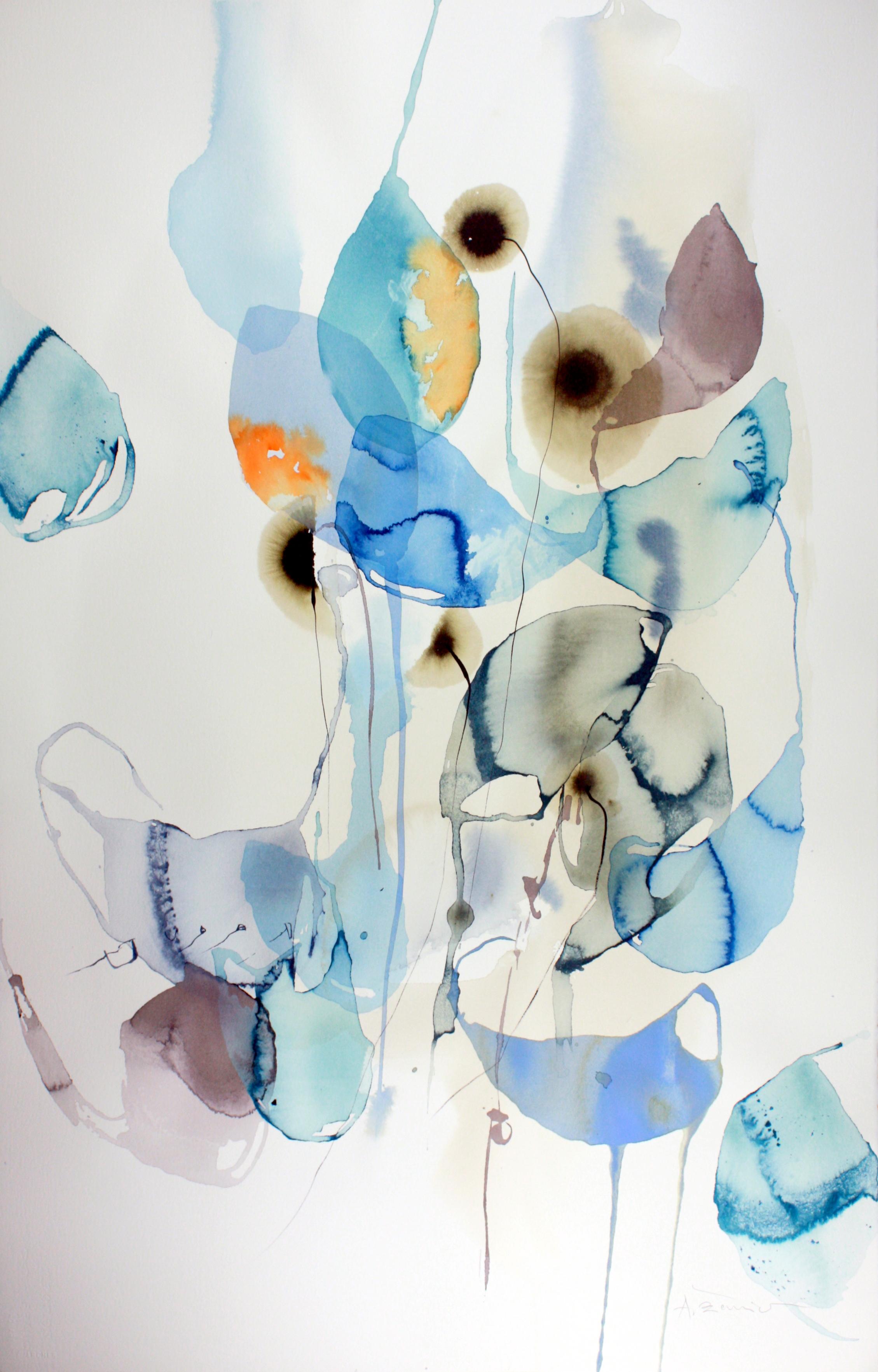Ana Zanic  Dark Bloom W-2019-4-11  watercolor & mixed media on paper  40x26