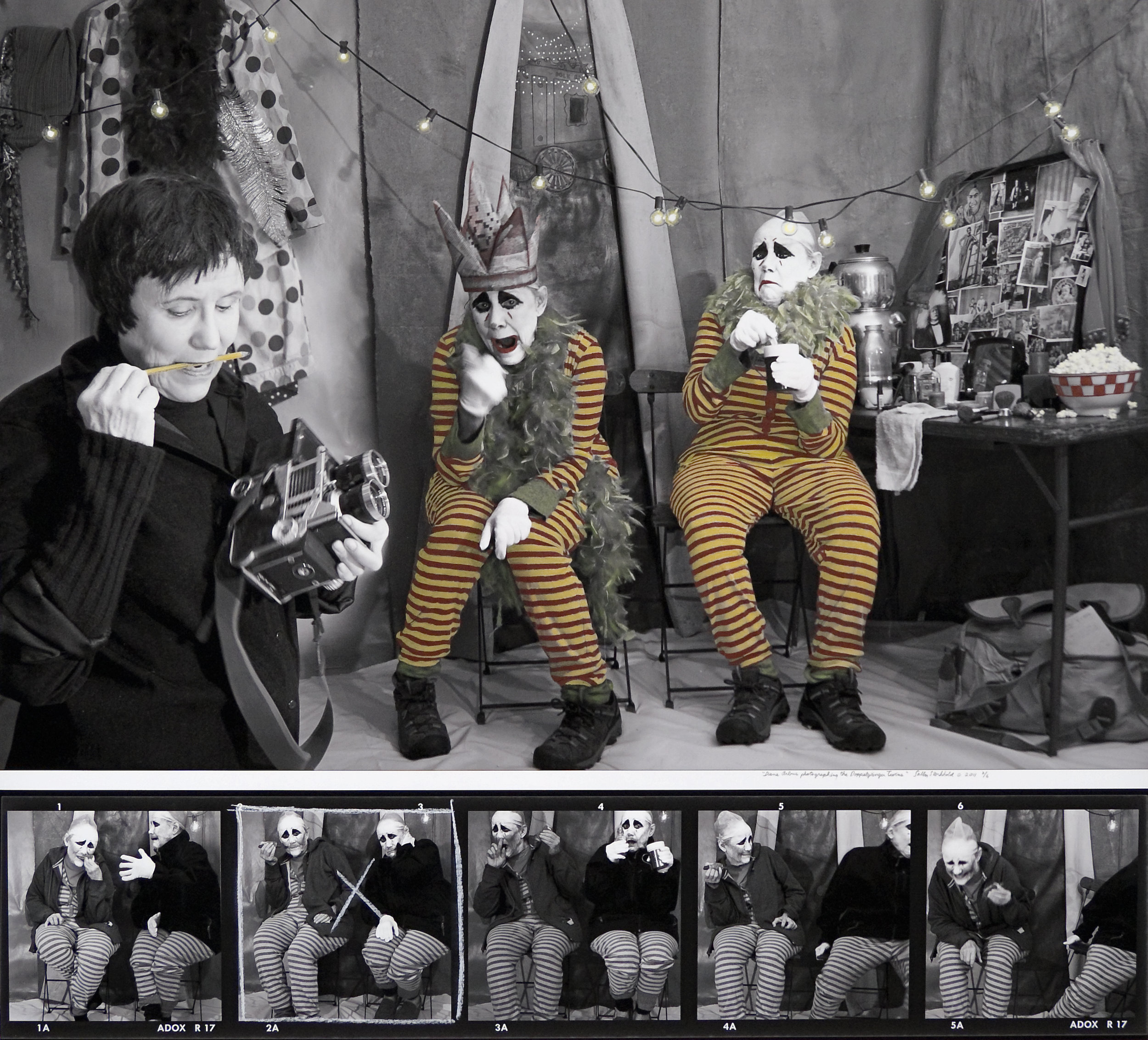 """Diane Arbus Photographing the Doppleganger Twins, from the """"Myselfportrait, Ode to Icons"""" Series  Archival carbon pigment print  36"""" x 40"""""""