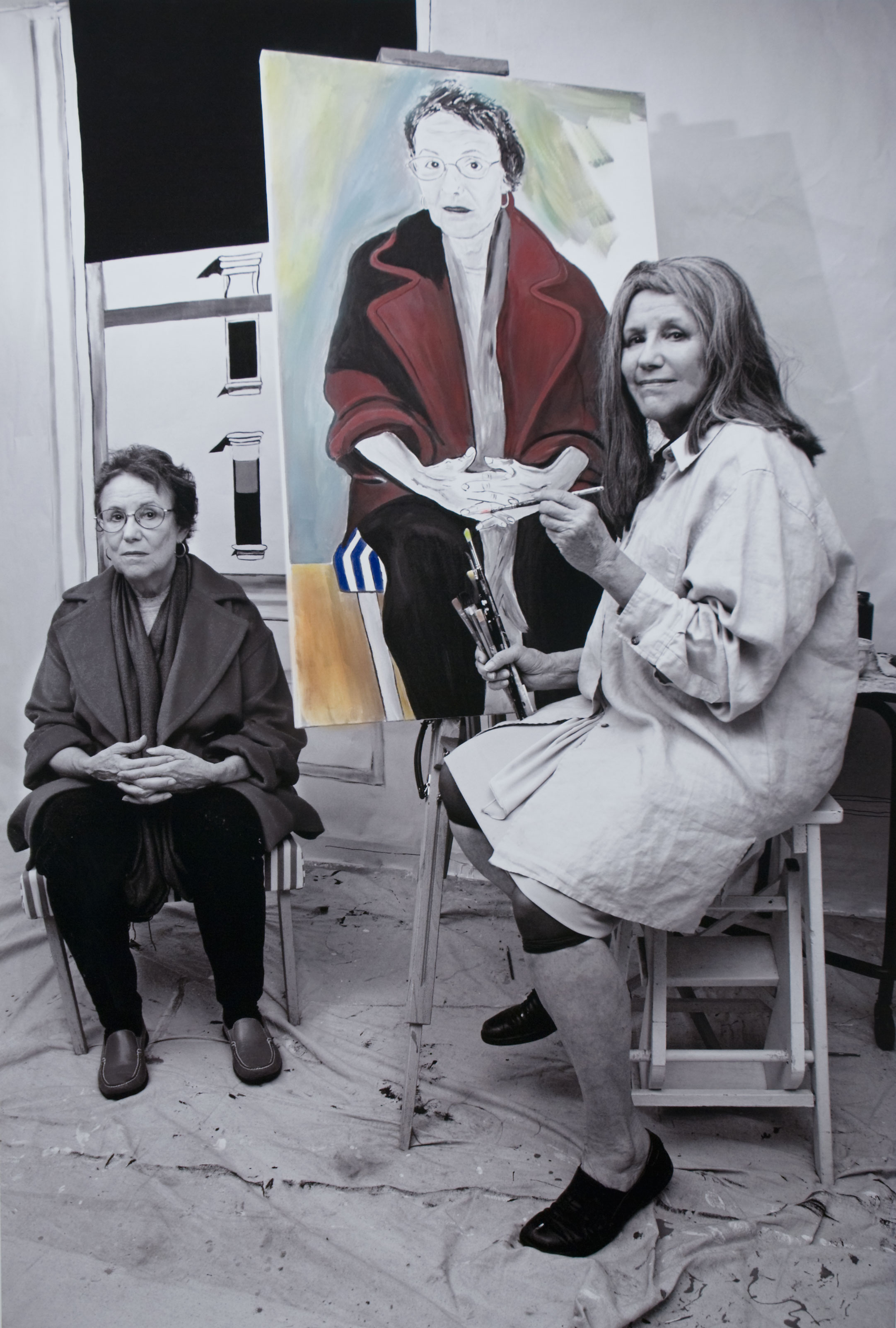"""Alice Neel Painting the Portrait of S. Stockhold From the """"Myselfportraits, Ode to Icons"""" Series  Archival carbon pigment print  40"""" x 27"""""""