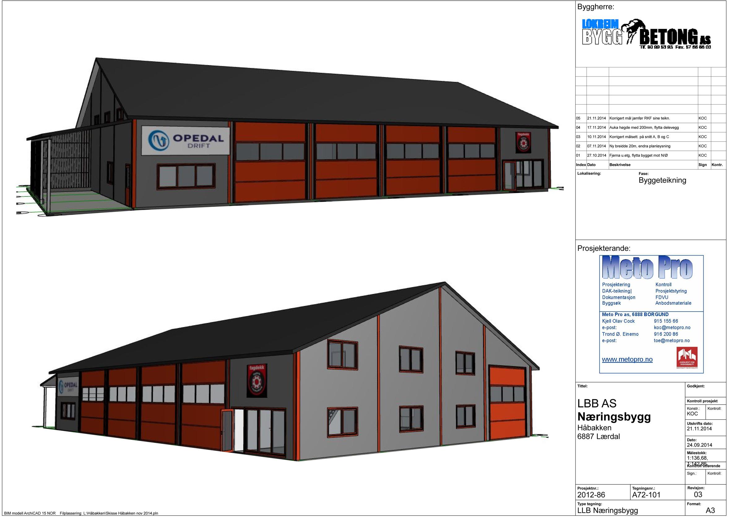 To av fasadane til næringsbygget som snart blir reistpå Håbakken. (Teikning: MetoPro)