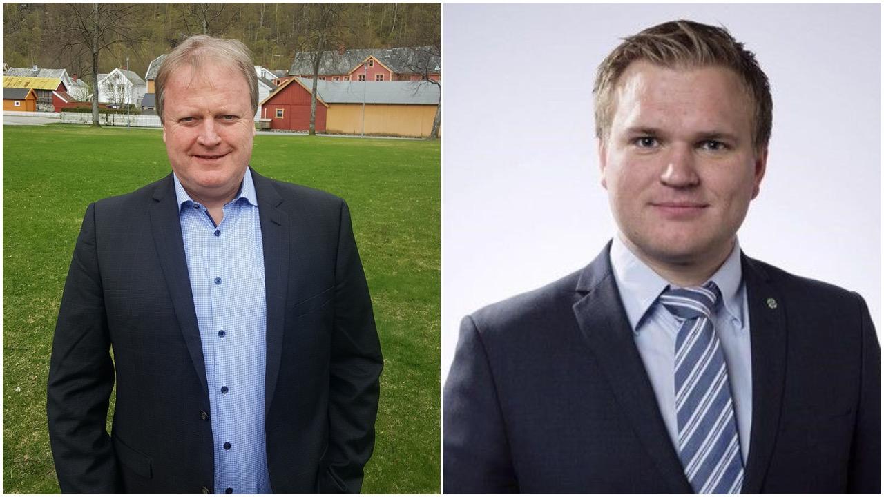 Styreleiar Yngve Hallén og dagleg leiar Aleksander Øren i LNU innleier under miniseminaret «LNU ut av omstilling – kva no?»