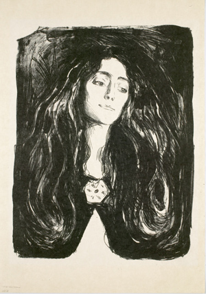 Edvard Munch  The Brooch. Eva Mudocci. 1903  Lithograph on Japan paper, 60.6 x 45.5 cm  Munch Museum, Oslo, MMG 255-04  © 2013 The Munch Museum / The Munch-Ellingsen Group / Artists Rights Society (ARS), NY