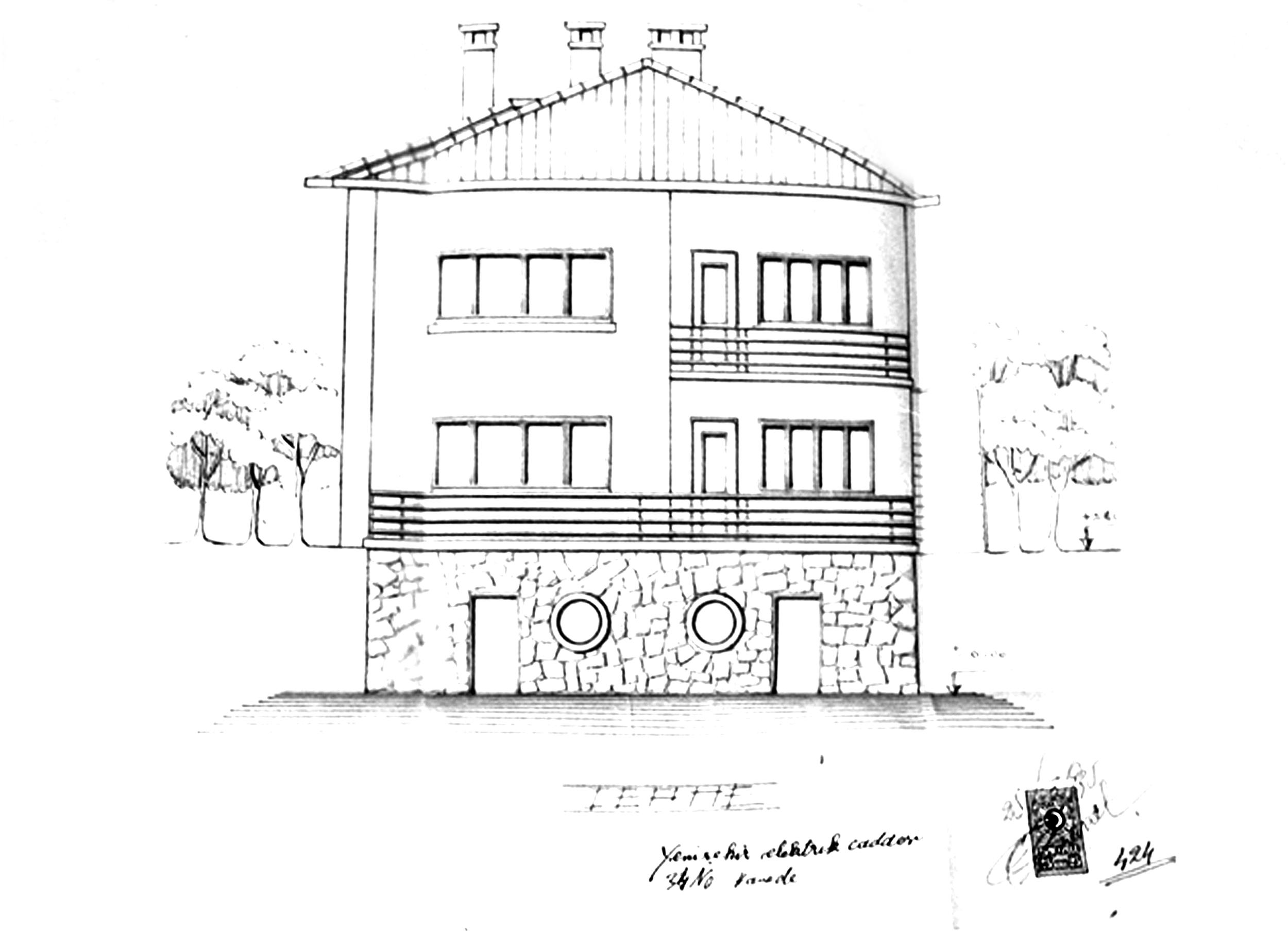 Şekil 2: EİE öncesinde arazide yer alan binanın cephesi [Kaynak: Çankaya Belediyesi, 2008]