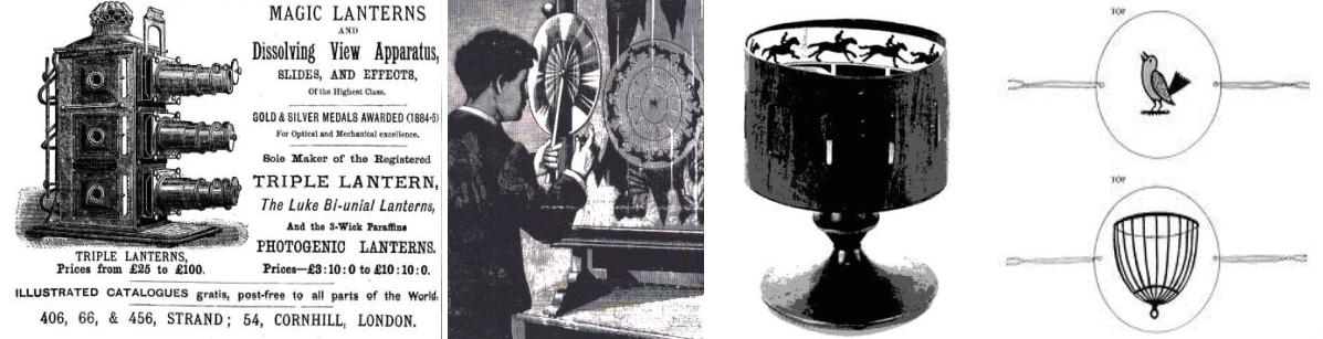 Şekil 1:  Lanterna Magica (Büyülü Fener), Phenakistoscope  ,  Zootrope (Yaşam Tekerleği) Thaumatrope (Mucize çevirici) gibi sinemayı önceleyen görme ve görüntüleme aygıtları.