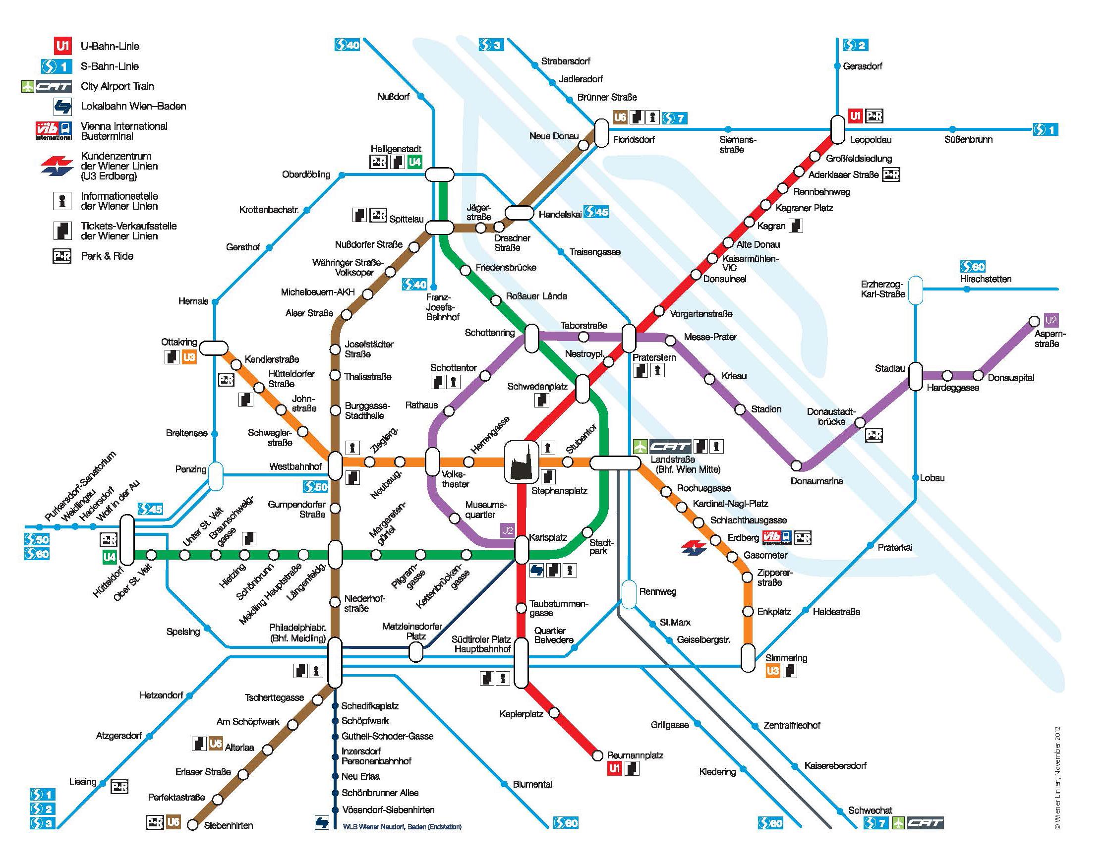 Viyana ulaşım planı (Kaynak:http://www.wien.info)