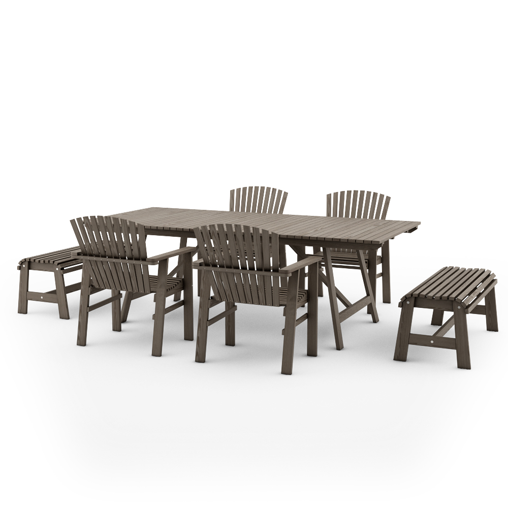 IKEA SUNDERO SET OF TABLE AND FOUR CHAIRS WITH ARMRESTS AND TWO BENCHES,PINE,GREY