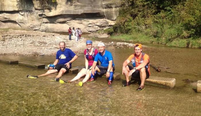 Turkeys wading: (L to R) David Green, Jessica, Charlie Huynh, Gary Davis