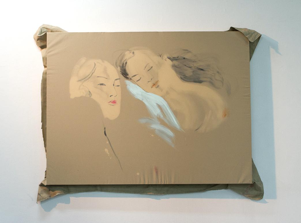 Adrift, bleach dye housepaint pastel on stretched canvas, 2018