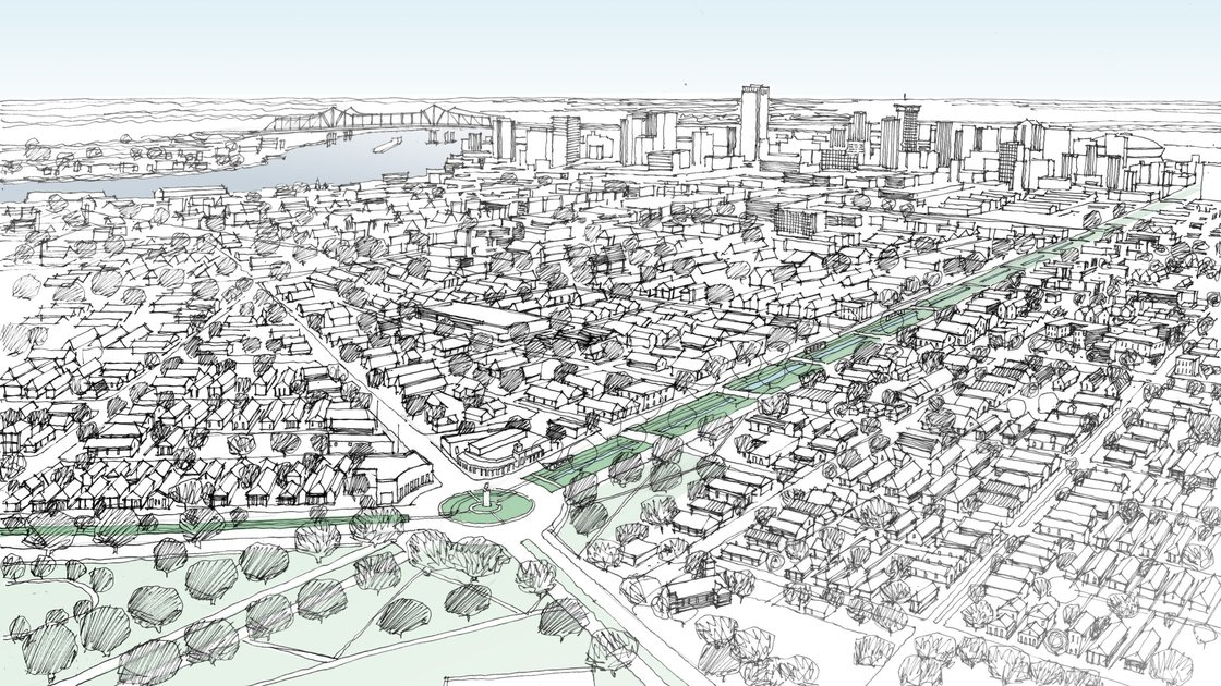 Image by CNU of Claiborne overpass removal possibilities in New Orleans