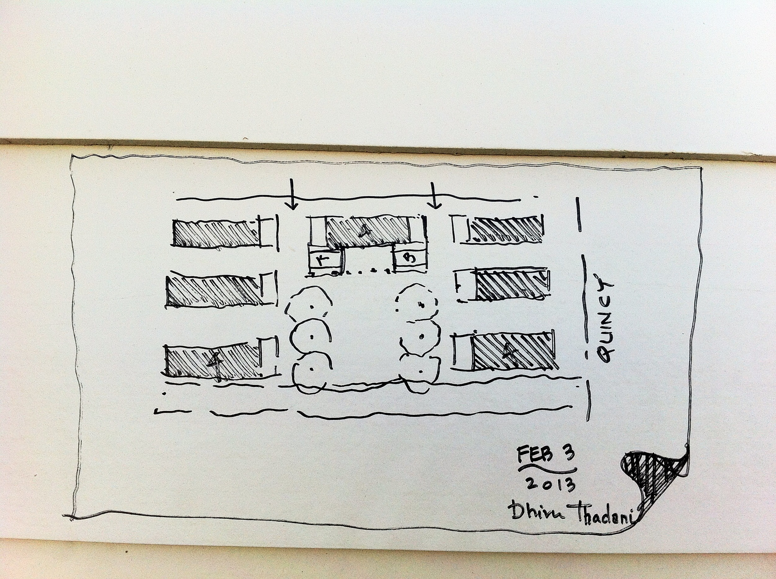 Architect Dhiru Thadani's sketch of the layout for seven cottages.