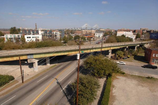 Photo by John Carrington and Savannah Morning News of the I-16 flyover in Savannah, GA
