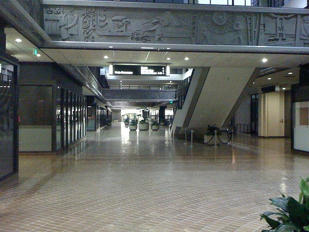 A frieze in the World Trade Center in Bunker Hill was supposed to be the centerpiece of Calvin Hamilton's pedway plan. (Flickr user  jann_on  ) and Citylab