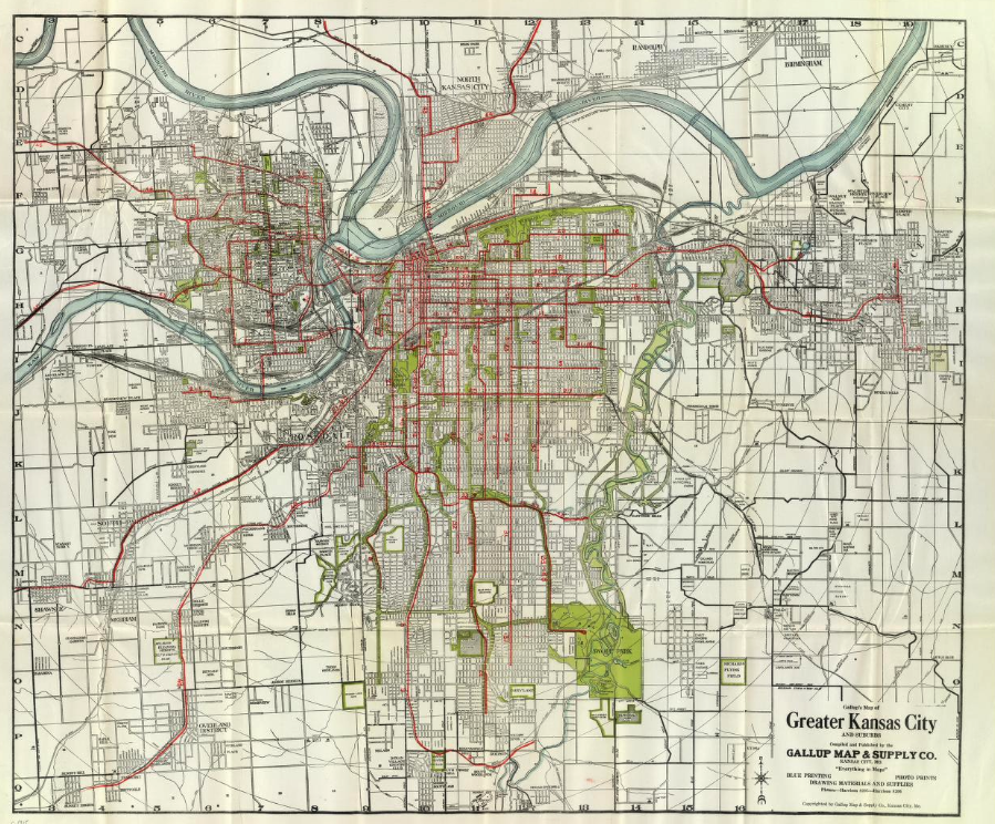 Kansas City's streetcar system, at or near its peak