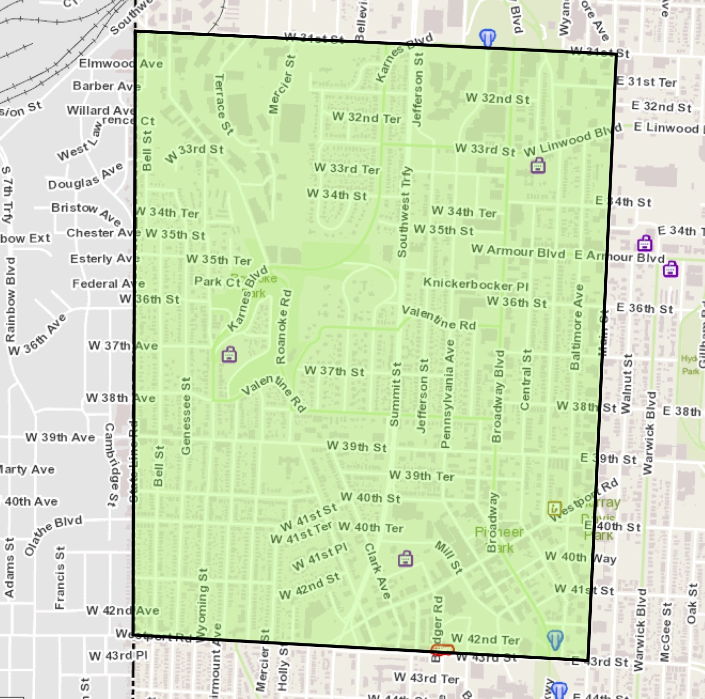 West Midtown in KC, MO - roughly bounded by 31st Street, State Line Road, Westport Road/43rd Street and Main Street. About 1.65 square miles.