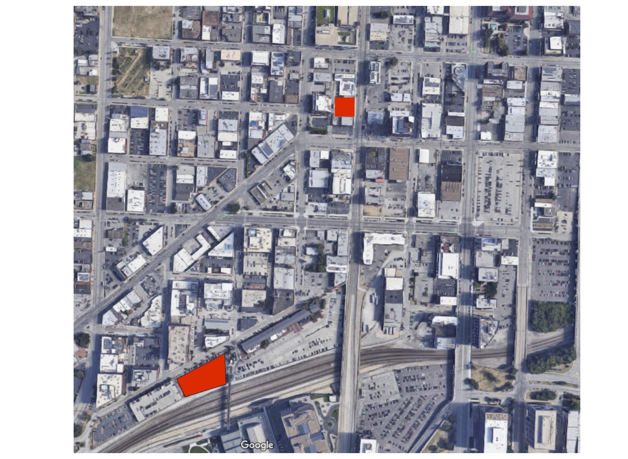 Two recent proposed developments highlighted in red, in the Crossroads neighborhood of Kansas City