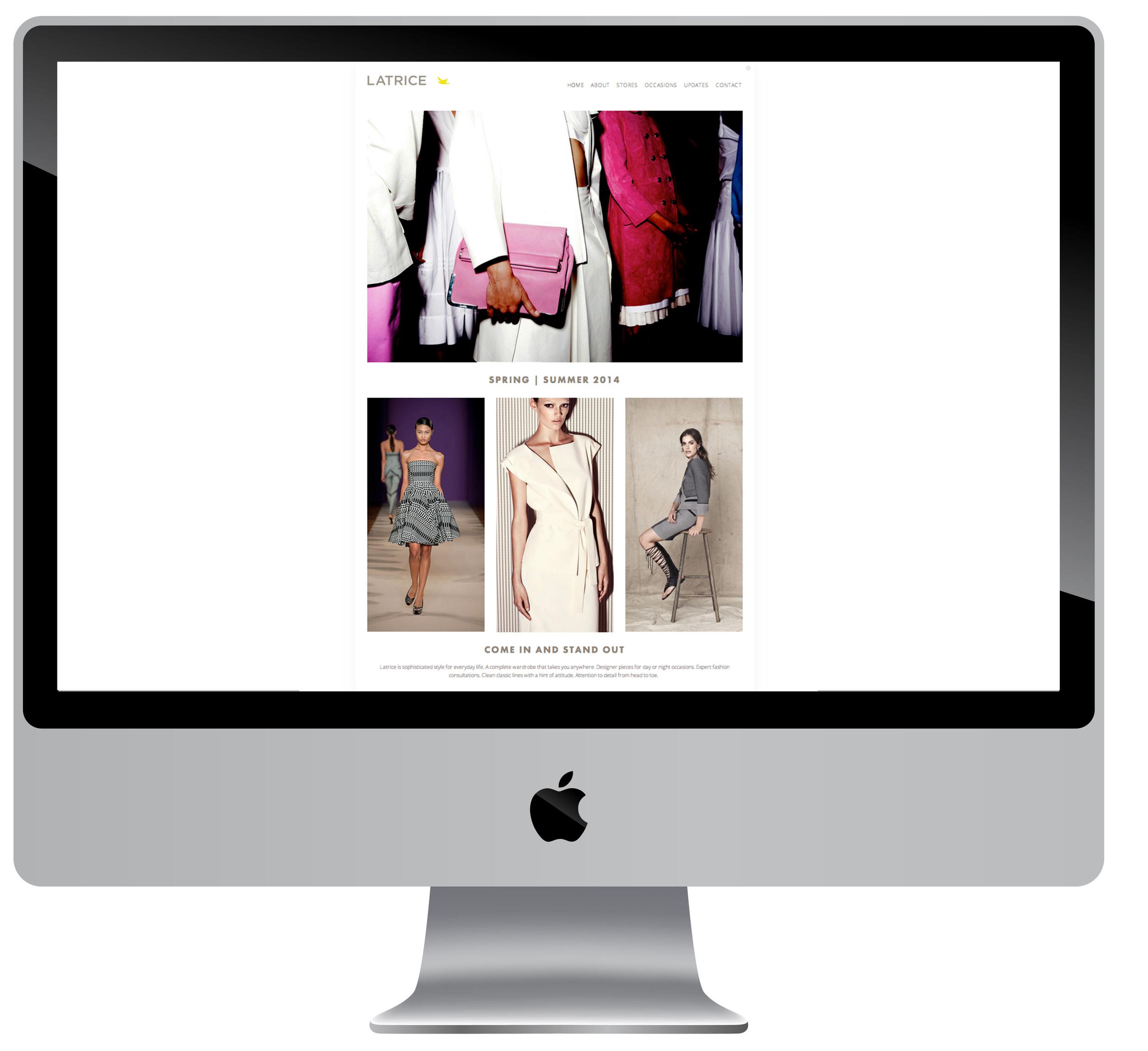 Website design for high end clothing boutique.