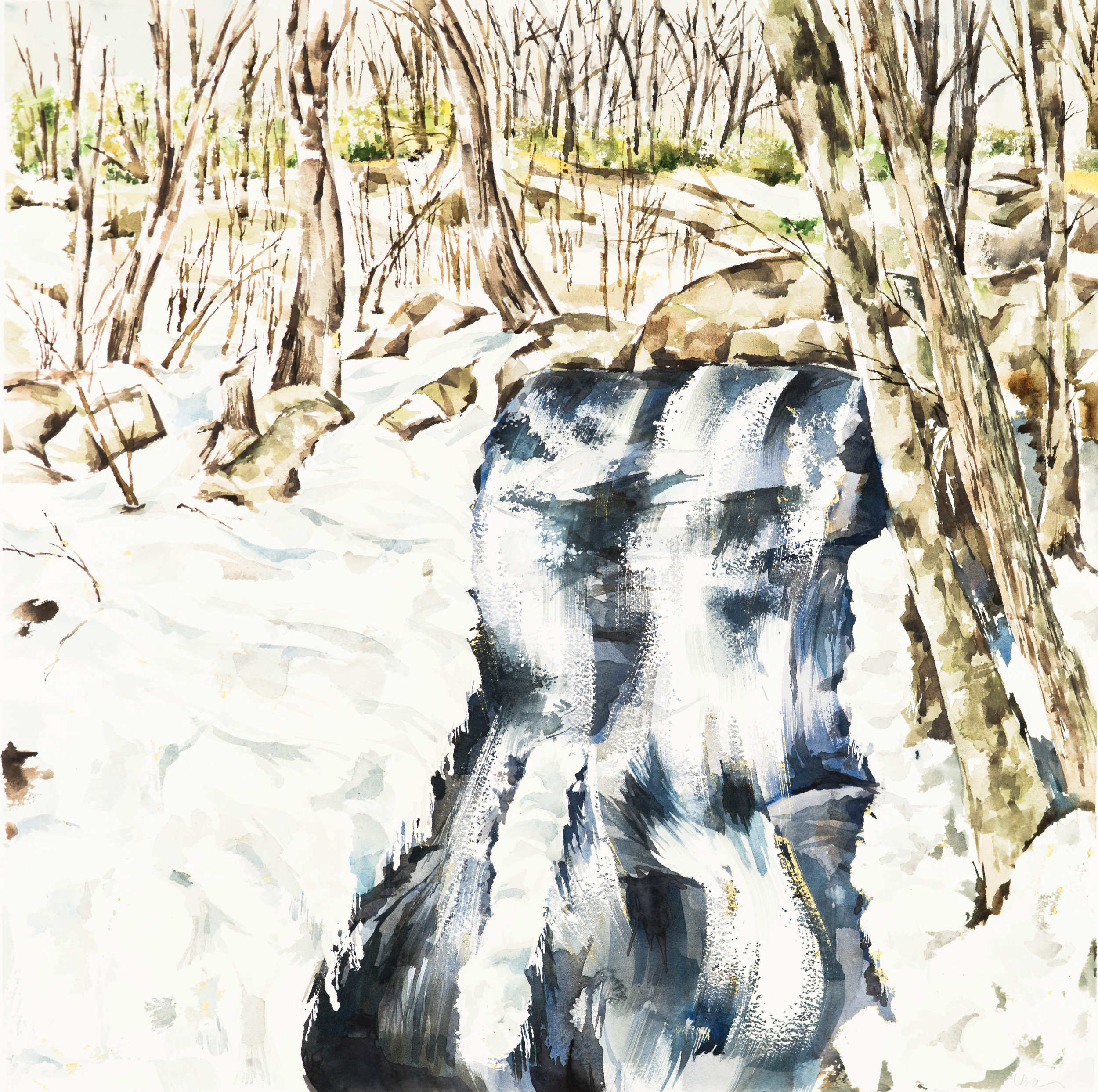 Crabtree Falls 20.5 x 20.5 Watercolor