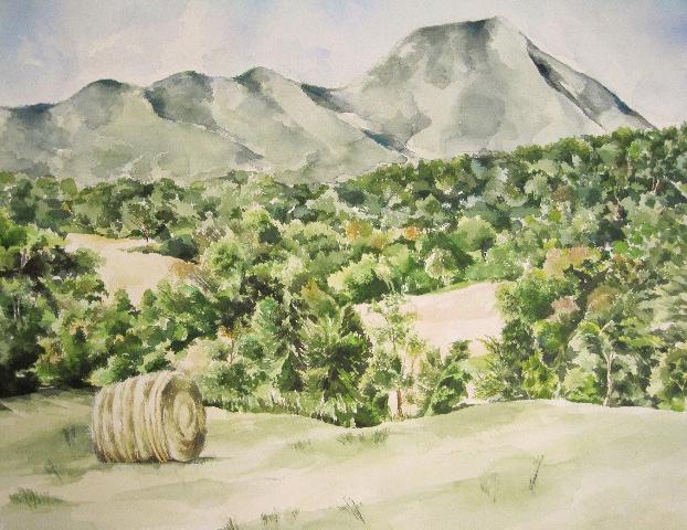 Haystack Watercolor SOLD