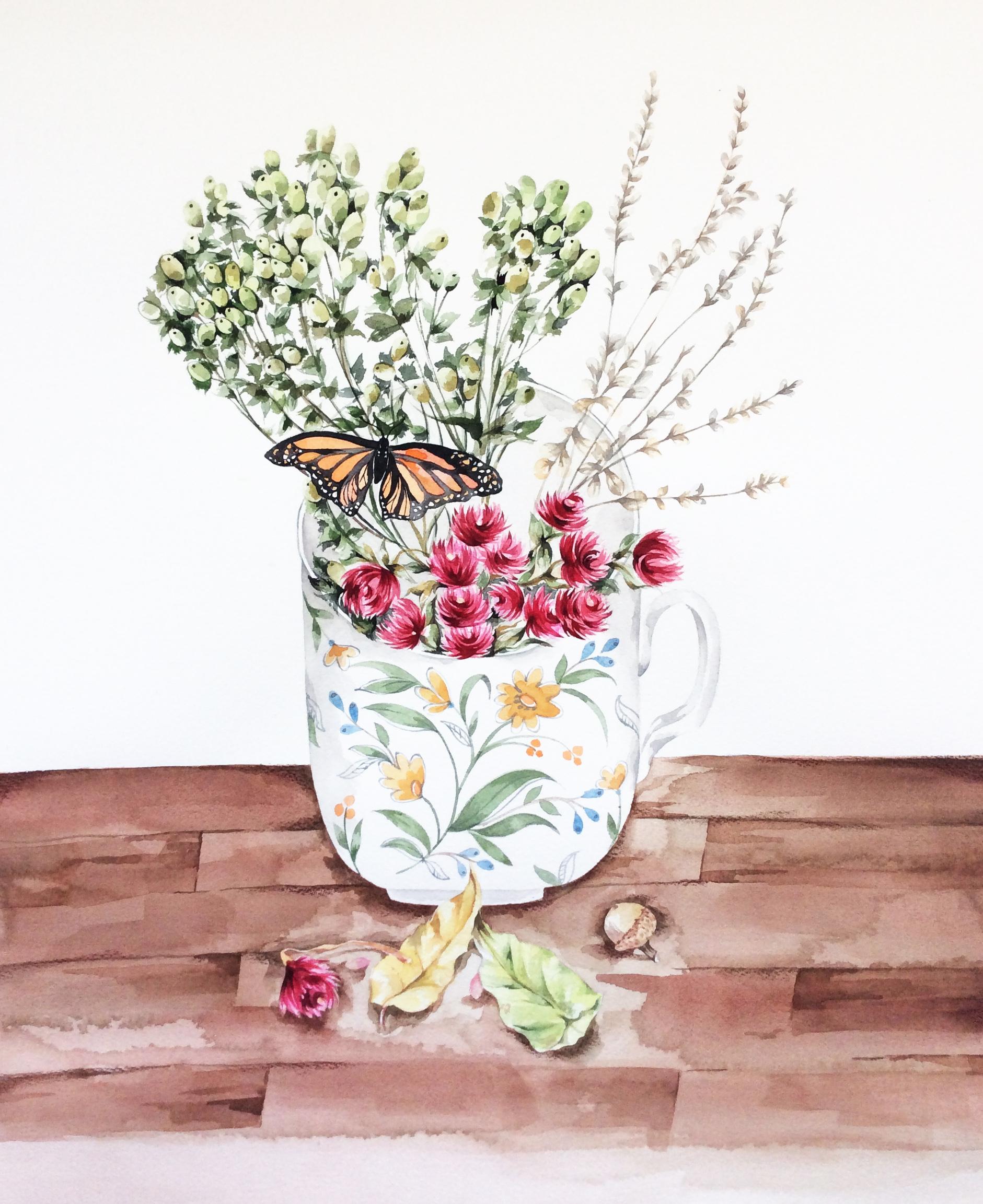 "Butterfly & Dried Flowers 18x15.75"" Watercolor"