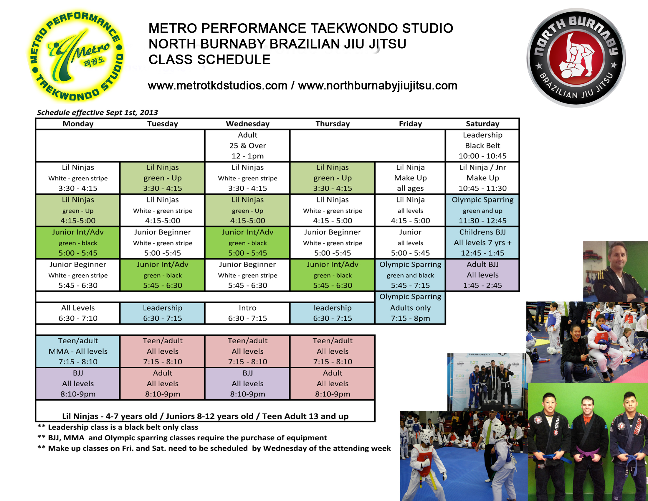 Please note our BJJ classes are mixed in with other martial arts classes. BJJ classes are highlighted in purple. We are also offering a once per week childrens BJJ class on Saturdays at 12:45pm