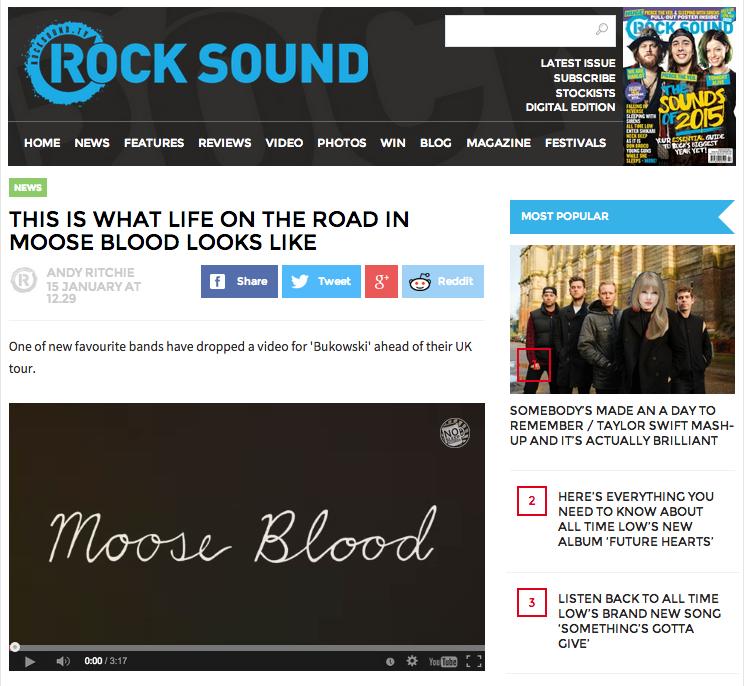 Rock Sound Moose Blood Video