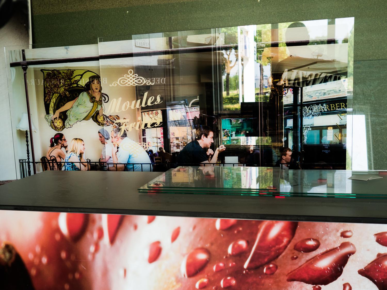 Foto afgedrukt op 3 glazen panelen.