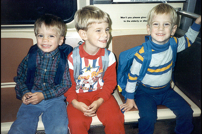 I'm talkin OLD SCHOOL.  Here are the 3 boys, before Emily was born riding the New York subway.
