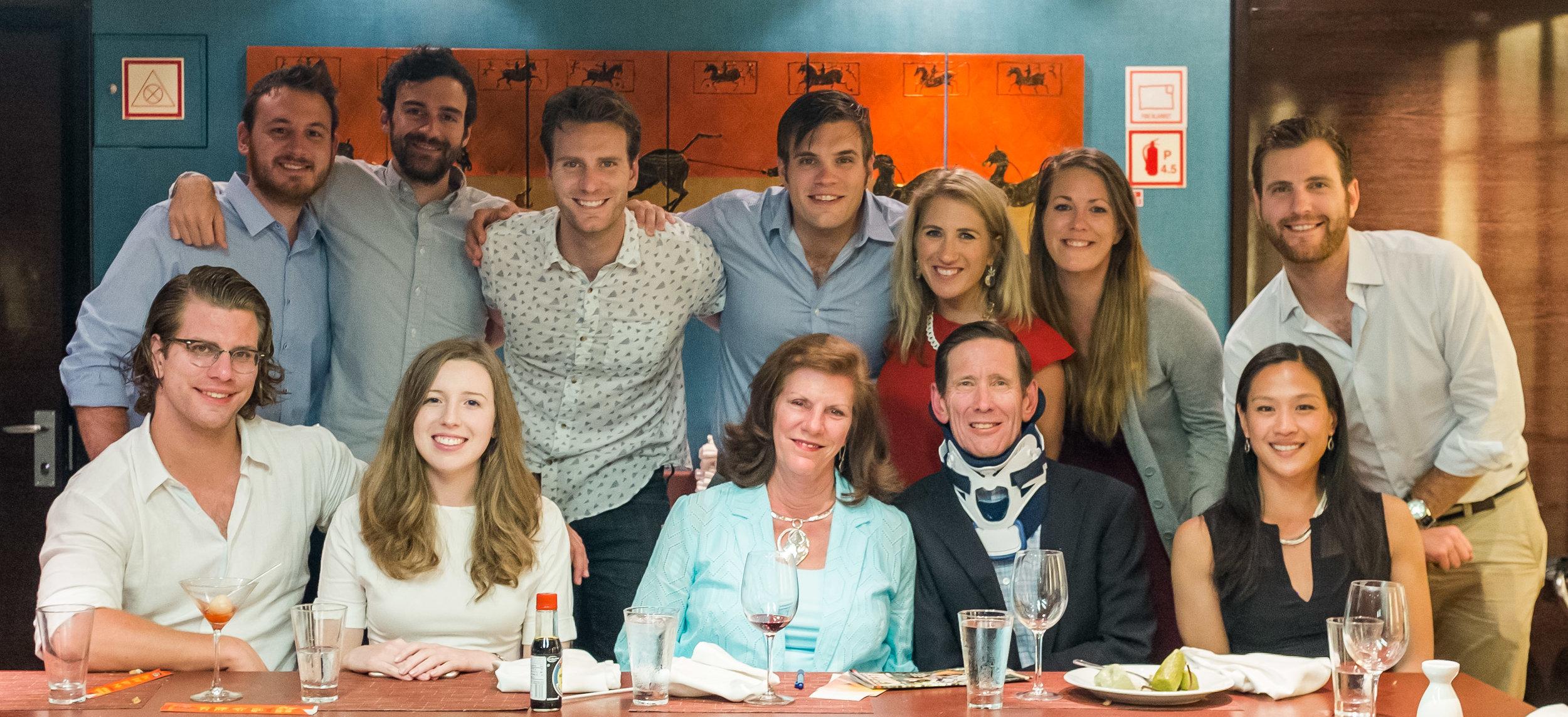 Back row: Patrick, Taylor, Mark, Paul, Jacky, Emily, Evan  Front row: Peter, Kallista, Kathy, John, Peiling