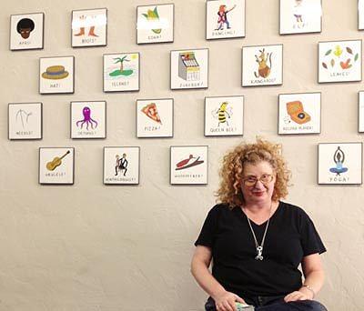 Artist Julie Wilson with her 2012 Afro to Zuchinni art show.