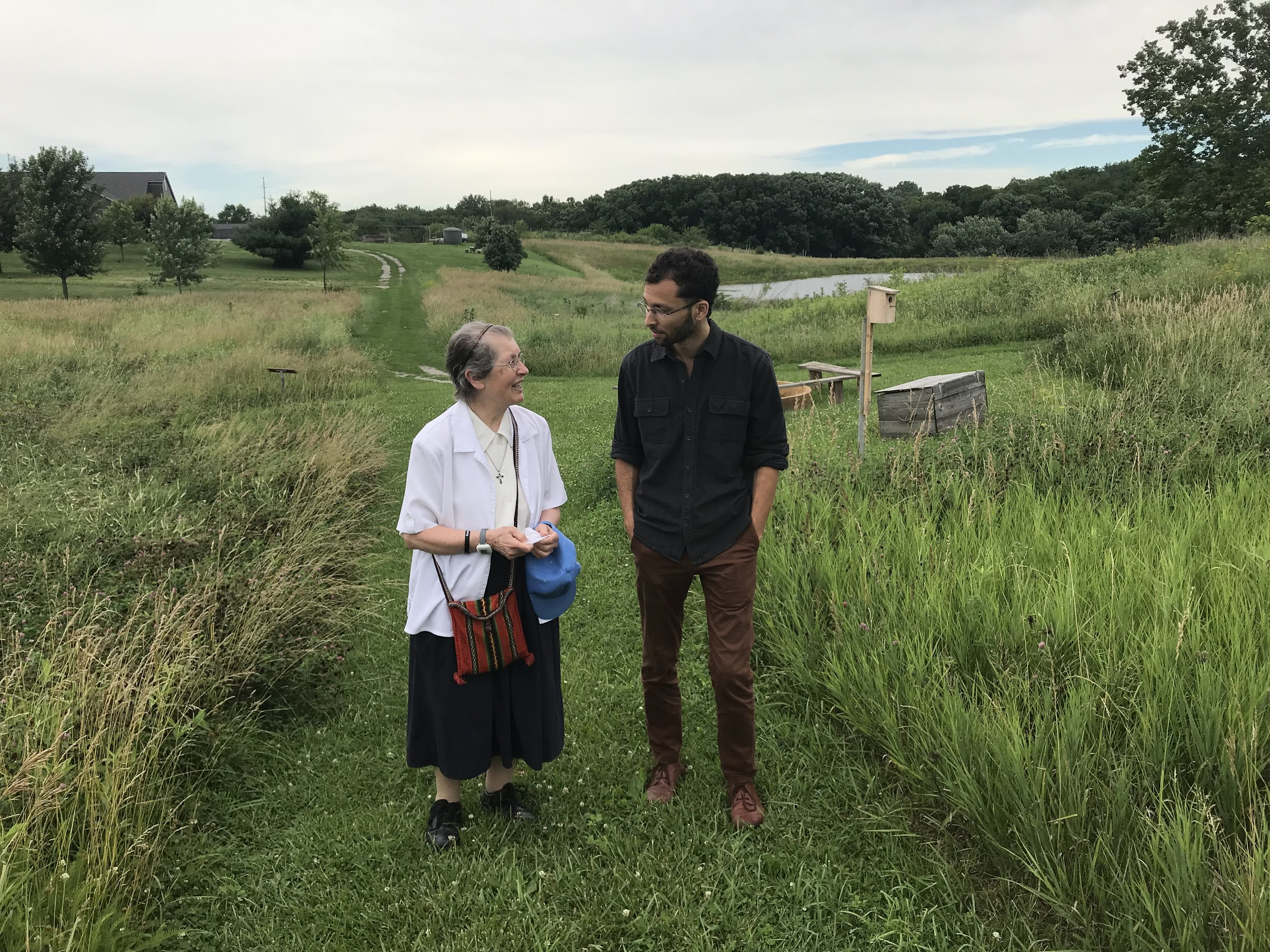 Walking with Sr. Mary Clare Fichtner, OP, at Jubilee Farm, an eco-spirituality farm and center, run by the Dominican Sisters of Springfield, Illinois. Photo by Alan Webb