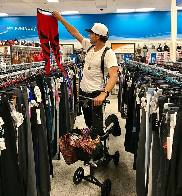 """Posing hard or actually caught therapy shopping at Ross?  LoL - got my new knee scooter today - inspired by my friend @valhallascott - Didn't feel too well today -it was an interesting one and so many people seem to be """"going through it"""" whatever it is...deep breathes and patience to """"trust the process"""". Bless us all- just doing the best we can.  #therapyshopping #dressforless #lol #fridaynightthrills"""