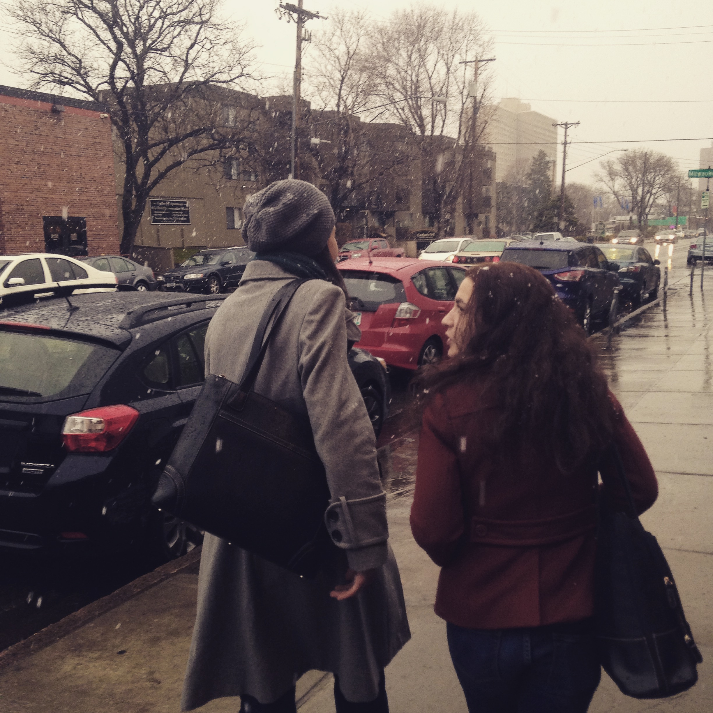 Leaving Boneshaker Books, after the Free Verse Reading, April 2015 photo by A. Clay