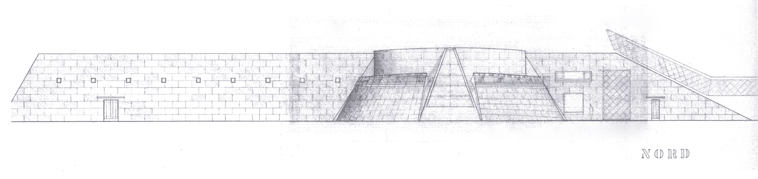 Sketch of the north facing side of theNorwegian Glacier Museum with the spectacular Climate Centre with its'sloping walls.