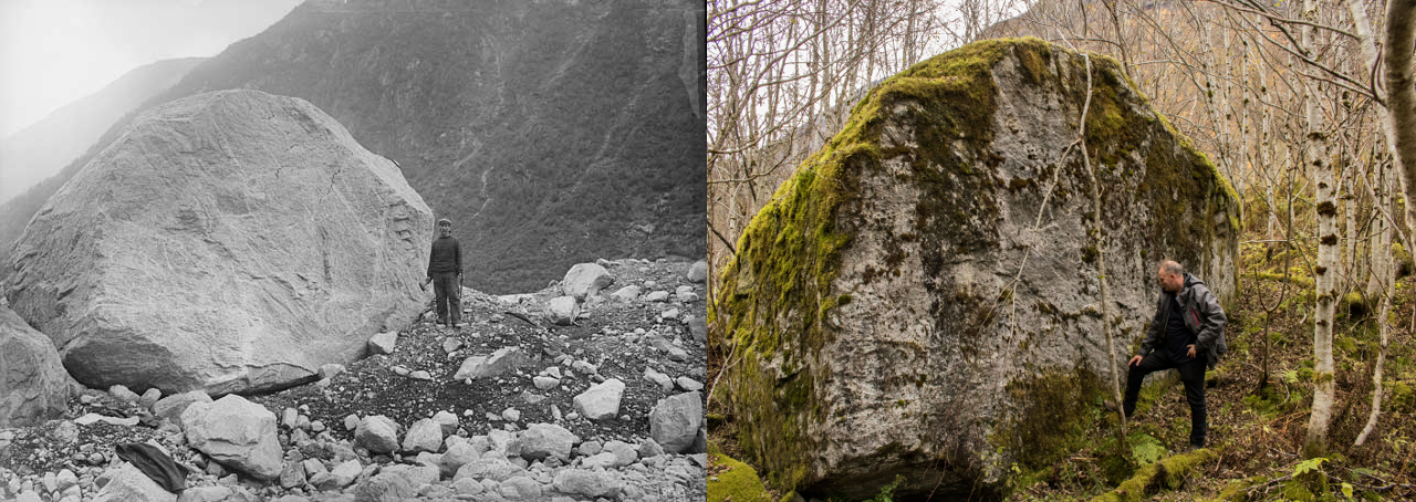 Big boulder in 1899 (photo: John Bernhard Rekstad) and 2016 (photo: Pål Gran Kielland).