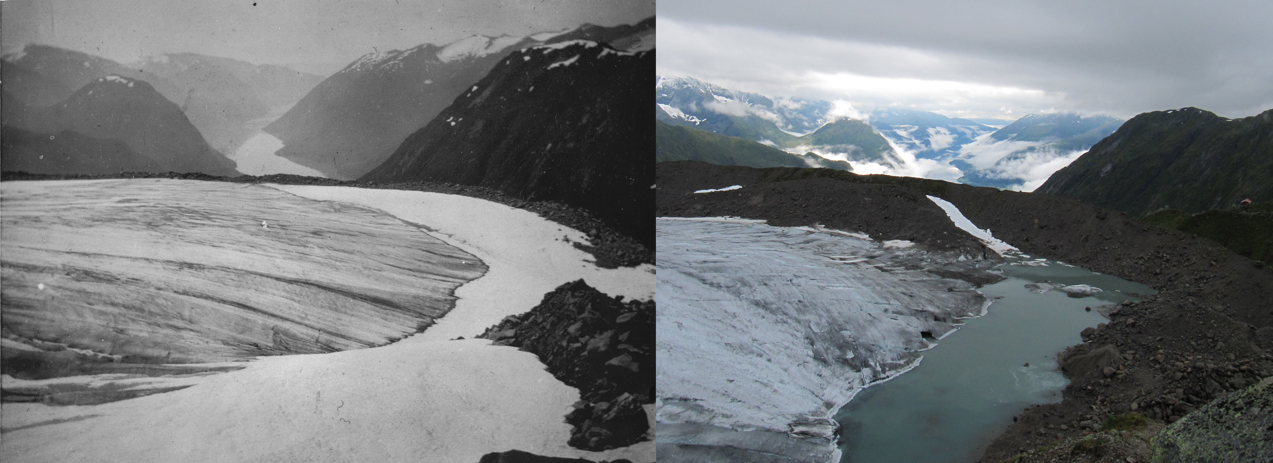 Store Supphellebreen (Flatbreen) in 1906 (photo: Monchton) and 2012 (photo: Pål Gran Kielland)
