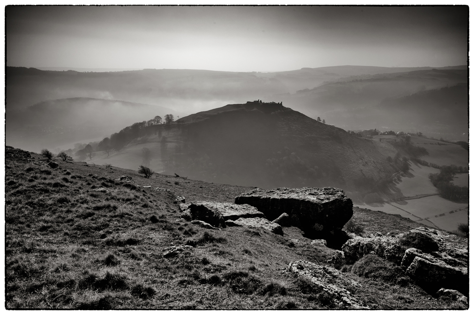 The Castle of Dinas Bran above Llangollen in the mist.