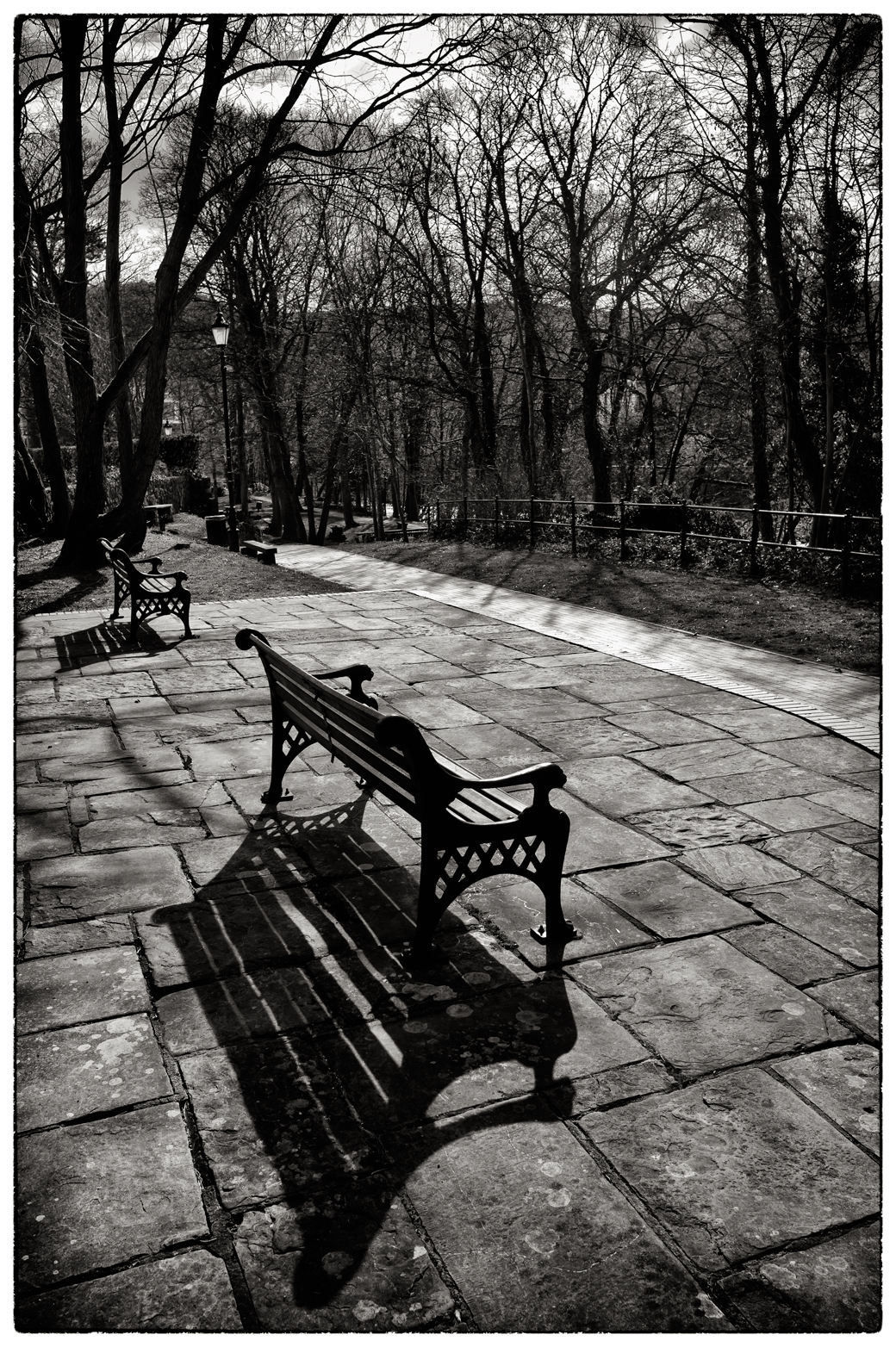 Benches next to the River Dee, Llangollen.