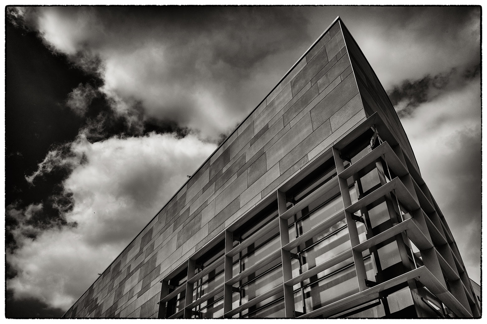 Pointy building, Eagle's Meadow, Wrexham.