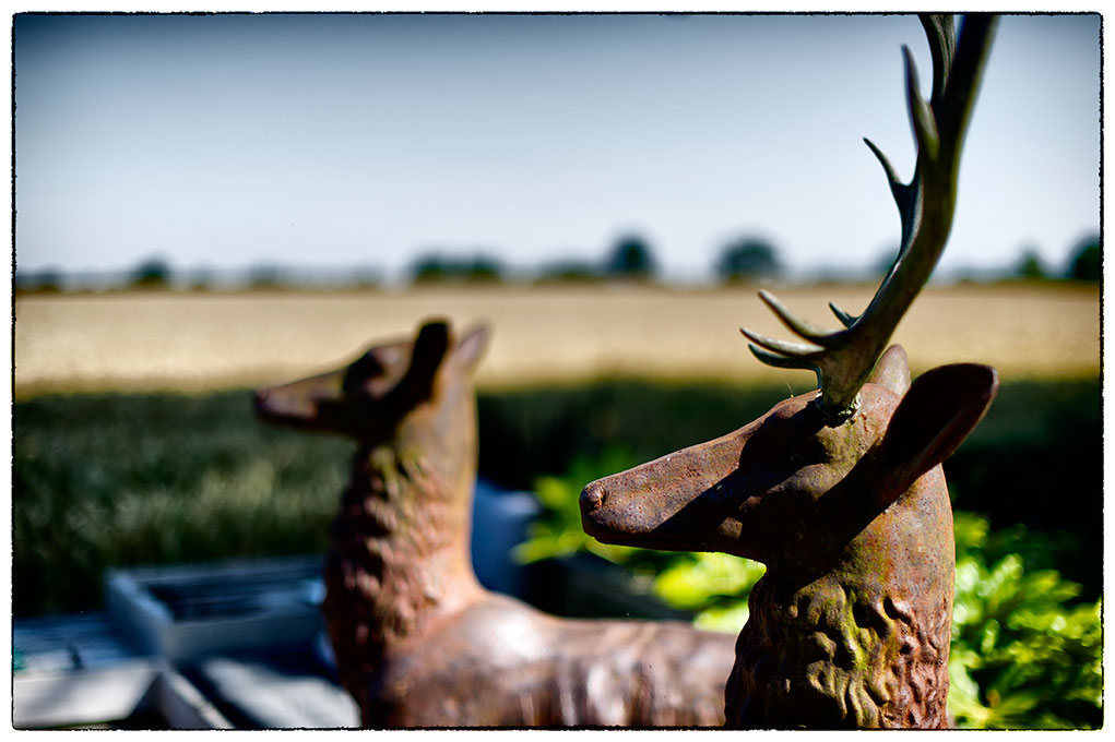 Bronze stag and landscape.