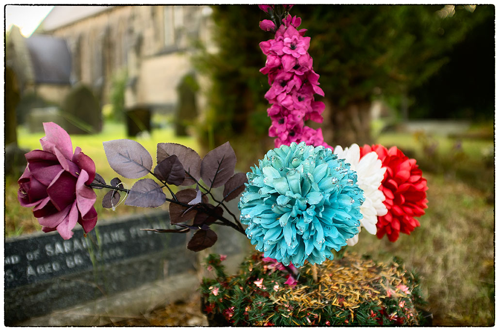 Flowers by a grave.
