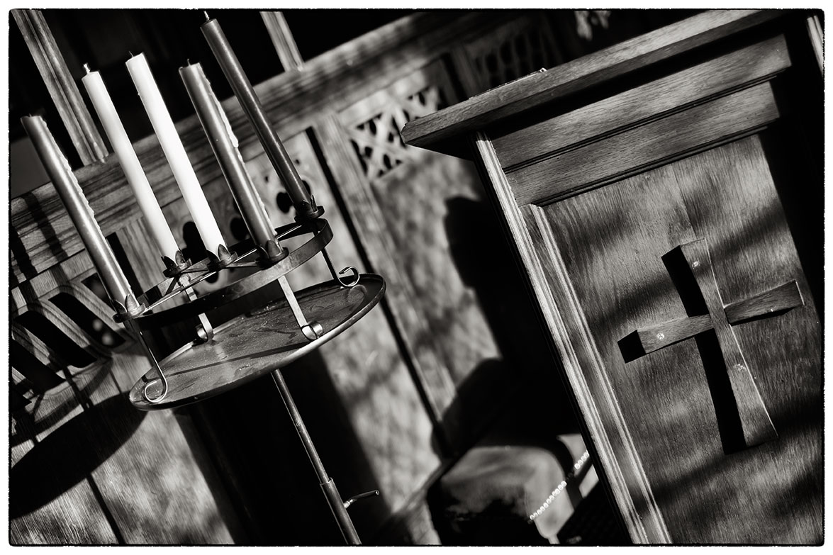 Chiaroscuro inside the church in Hope.