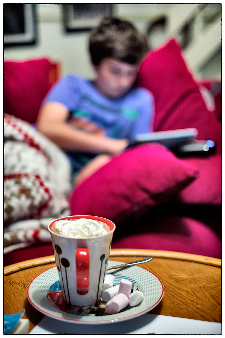 Hot chocolate and marshmallows on a rainy Sunday afternoon. The boy is spoilt!