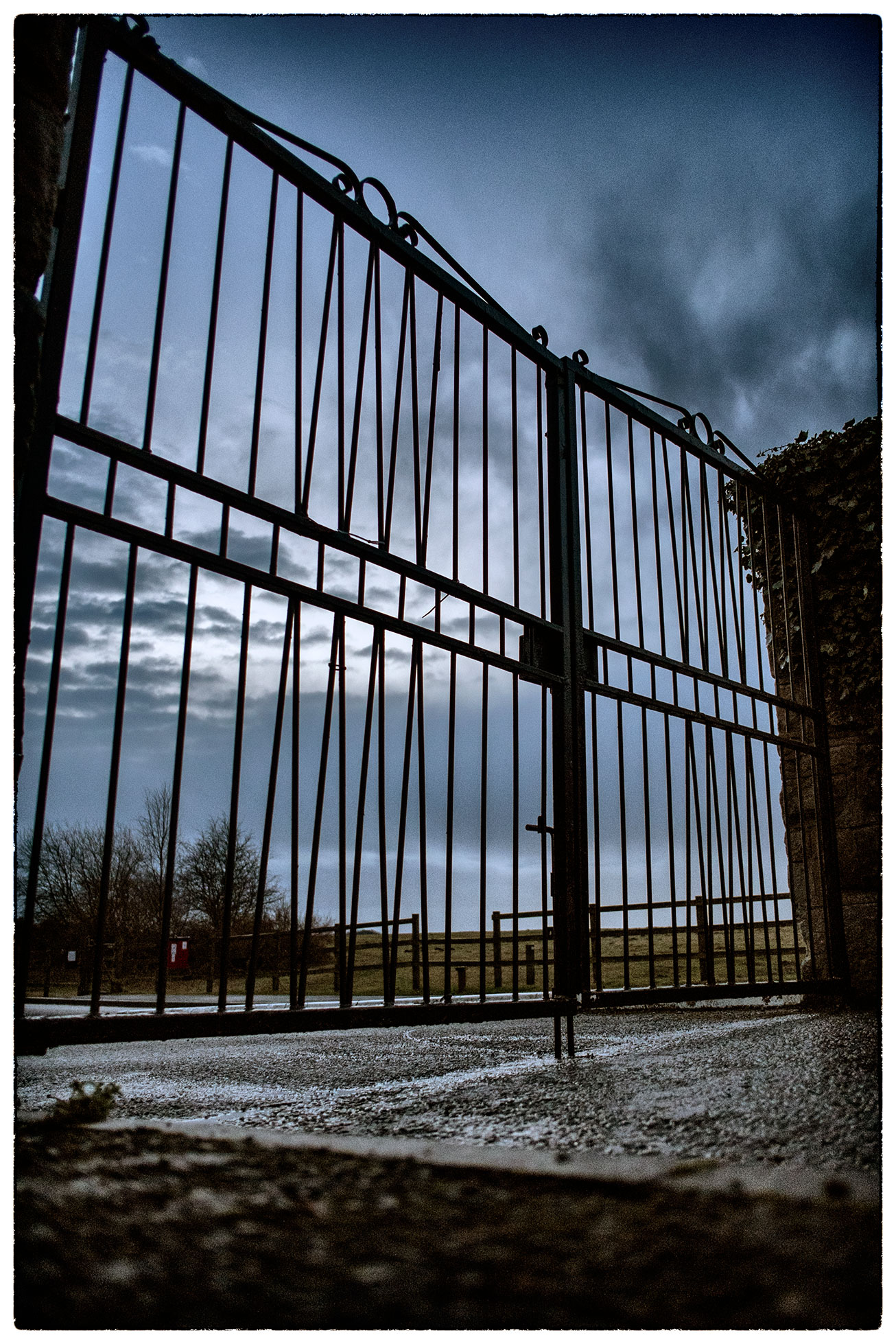 Worm's eye view of the park gates at Alyn Waters on a rainy morning dog walk.